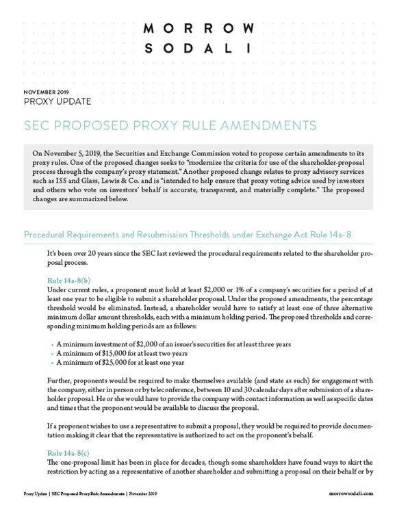 SEC Proposed Proxy Rule Amendments
