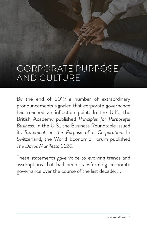 Corporate Purpose and Culture