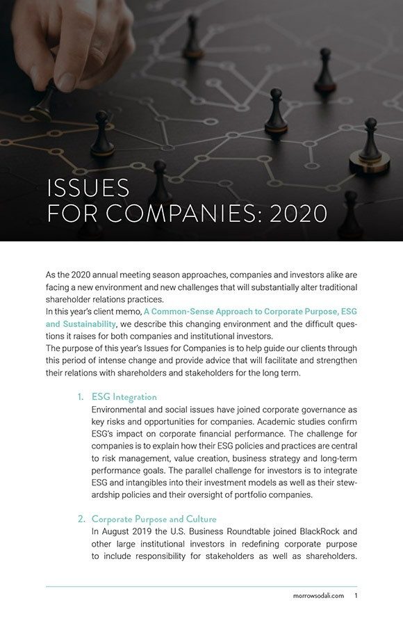 Issues for Companies: 2020