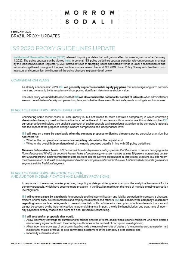 Brazil Proxy Guidelines: 2020 Updates