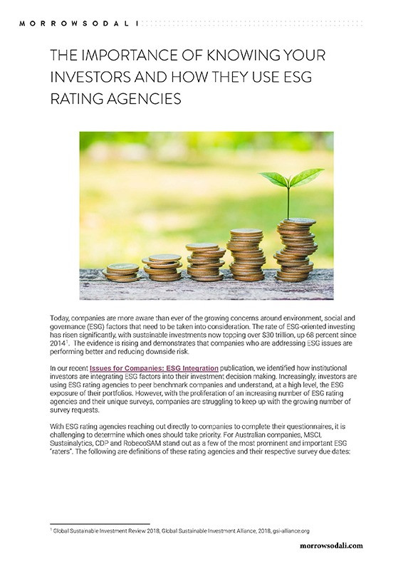 The importance of knowing your investors and how they use ESG rating agencies